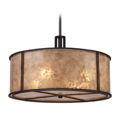 Barringer Aged Bronze Pendant Light with Drum Shade - Includes Recessed Adapter Kit