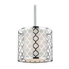 Sea Gull Lighting Jourdanton Brushed Nickel Mini-Pendant Light with Cylindrical Shade