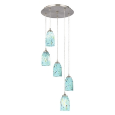 Design Classics Lighting Modern Multi-Light Pendant Light with Turquoise Blue Art Glass 580-09 GL1021D