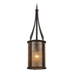 Elk Lighting Barringer Aged Bronze Mini-Pendant Light with Cylindrical Shade