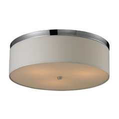Modern Flushmount Light with White Shade in Polished Chrome Finish