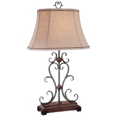Minka Wood Table Lamp with Bell Shade