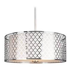 Sea Gull Lighting Jourdanton Brushed Nickel Pendant Light with Drum Shade