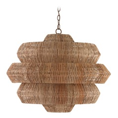 Currey and Company Antibes Khaki / Natural Pendant Light