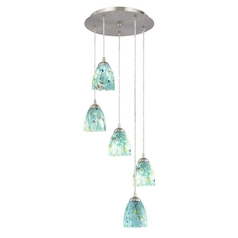 Multi-Light Pendant with Turquoise Blue Art Glass and Five Lights