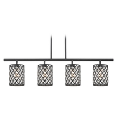 Linear Pendant Light with 4-Lights and Crystal Metal Shades in Black Finish