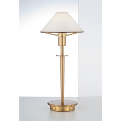 Holtkoetter Modern Table Lamp with White Glass in Antique Brass Finish