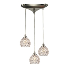 Crystal Multi-Light Pendant Light with Clear Glass and 3-Lights