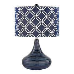 LED Table Lamp with Blue Shade in Navy Blue Finish