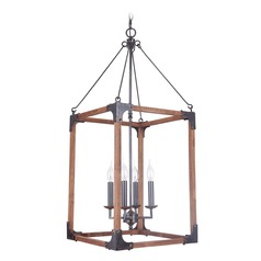 Craftmade Lighting Mason Fired Steel/natural Wood Pendant Light with Rectangle Shade