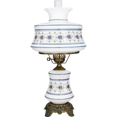 Console & Buffet Lamp with White Glass in Antique Brass Finish