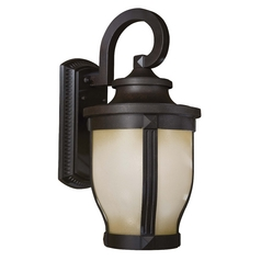Outdoor Wall Light with White Glass in Corona Bronze Finish