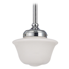 8-Inch Schoolhouse Mini-Pendant Light in Chrome Finish
