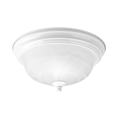 Progress Lighting Progress Flushmount Light with Alabaster Glass in White Finish P3924-30