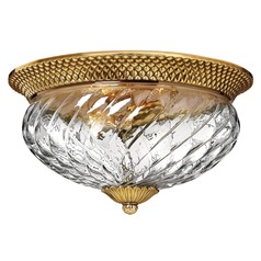 16-Inch Burnished Brass Tropical Flushmount Light