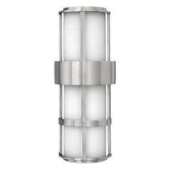 Outdoor Wall Light with White Glass in Stainless Steel Finish