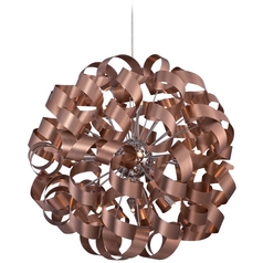 Mid-Century Modern Pendant Cluster Light Copper Ribbons by Quoizel Lighting