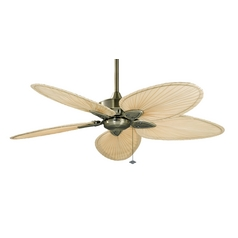 Ceiling Fan Without Light in Antique Brass Finish