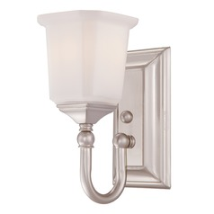 Quoizel Lighting Sconce Wall Light with White Glass in Brushed Nickel Finish NL8601BN