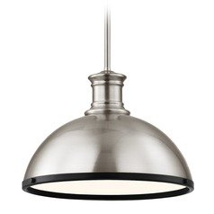 Industrial Pendant Light Satin Nickel and Black 13.38-Inch Wide