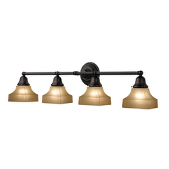 Craftsman Style 4-Light Vanity Light Bronze with Caramel Square Glass