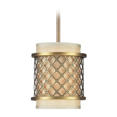 Elk Lighting Chester Brushed Antique Brass Mini-Pendant Light with Cylindrical Shade