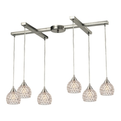 Crystal Multi-Light Pendant Light with Clear Glass and 6-Lights