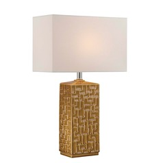 Lite Source Monico Mustard Ceramic Table Lamp with Rectangle Shade