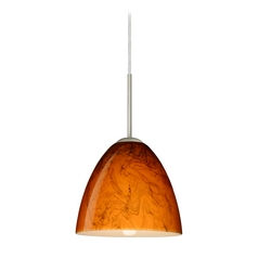 Modern Pendant Light with Orange Glass in Satin Nickel Finish
