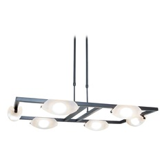 Access Lighting Modern 6-Light Chandelier with White Glass in Oil Rubbed Bronze