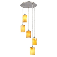 Design Classics Lighting Multi-Light Pendant with Cylinder Art Glass and Five Lights 580-09 GL1022C