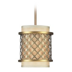 Elk Lighting Chester Brushed Antique Brass LED Mini-Pendant Light with Cylindrical Shade