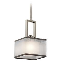 Kichler Lighting Kailey Brushed Nickel Mini Pendant Light With Square Shade