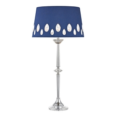 Console & Buffet Lamp with Blue Shades in Clear with Chrome Finish