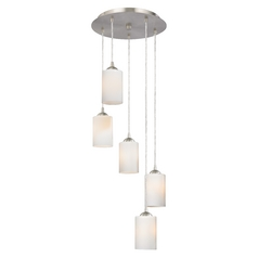 Modern Multi-Light Pendant Light with White Glass and 5-Lights