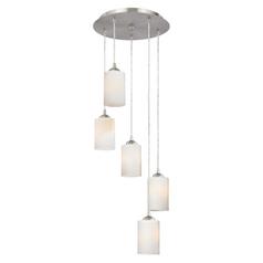 Multi light pendants destination lighting modern multi light pendant light with white glass and 5 lights aloadofball Gallery