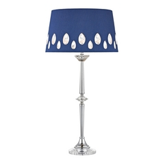 LED Console & Buffet Lamp with Blue Shades in Clear with Chrome Finish