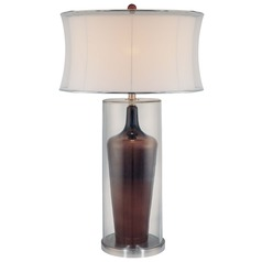 Minka Lavery Clear/brown Inside Table Lamp with Drum Shade