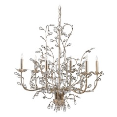 Currey and Company Crystal Bud Silver Granello Crystal Chandelier