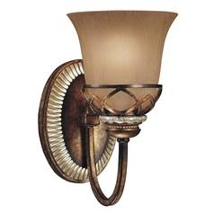 Sconce with Beige / Cream Glass in Aston Court Bronze Finish