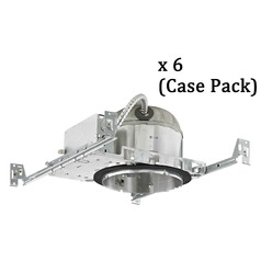 Recesso 6-Inch Shallow New Construction Recessed Can Light - IC & Airtight - Case Pack of 6