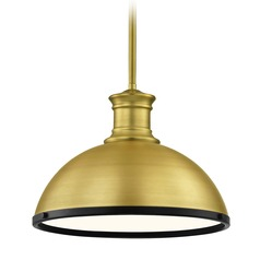 Industrial Brass Pendant Light with Black Accents 13.38-Inch Wide