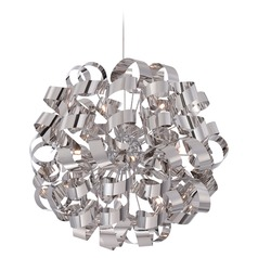 Mid-Century Modern Pendant Cluster Light Chrome Ribbons by Quoizel Lighting