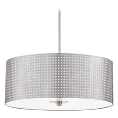 George Kovacs Grid Brushed Nickel Pendant Light with Drum Shade