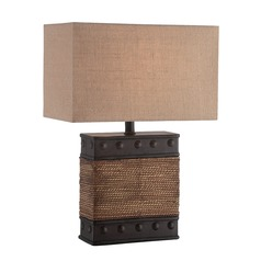 Lite Source Sailor Dark Bronze Table Lamp with Rectangle Shade