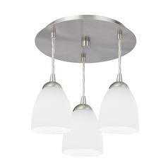 3-Light Semi-Flush Light with White Glass - Nickel Finish