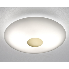 Holtkoetter Modern Semi-Flushmount Light with White Glass in Polished Brass Finish