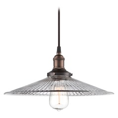 Pendant Light with Clear Glass in Rustic Bronze Finish