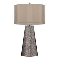 Table Lamp with Brown Shades in Heavy Metal Mercury Finish