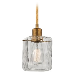 Elk Lighting Watercube Antique Gold Leaf Mini-Pendant Light with Square Shade